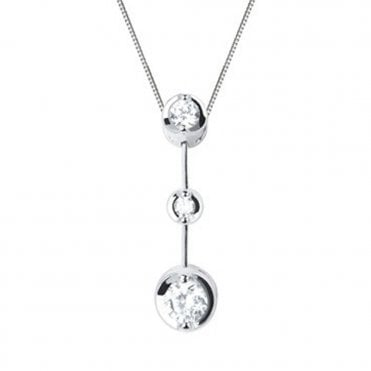 Berry's Lucia 18ct White Gold Three Stone Diamond Drop Pendant