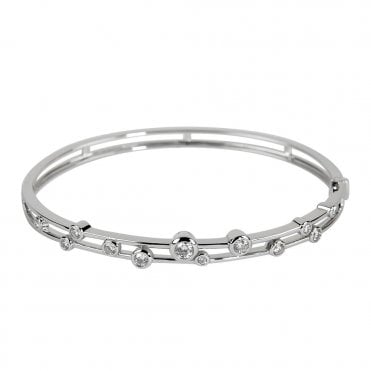 Berry's Lucia 18ct White Gold Two Row Scattered Diamond Bangle