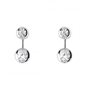 Berry's Lucia 18ct White Gold Two Stone Diamond Drop Earrings