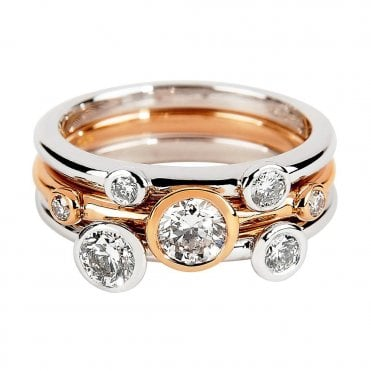 Lucia 18ct White & Rose Gold Three Band Dress Ring