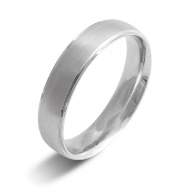 Palladium 950 5mm Brushed & Polished Finish Wedding Ring