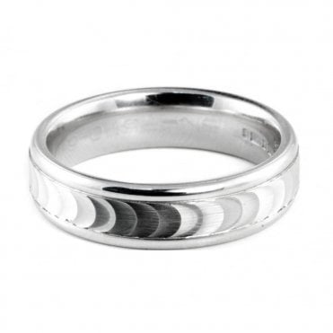 Palladium 950 6mm Brushed & Polished Finish Patterned Wedding Ring