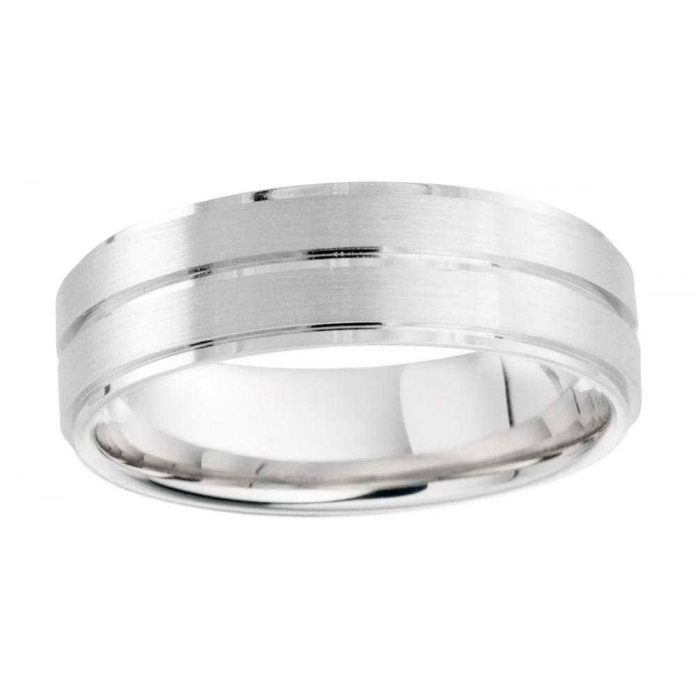 palladium 950 6mm brushed amp polished finish wedding ring