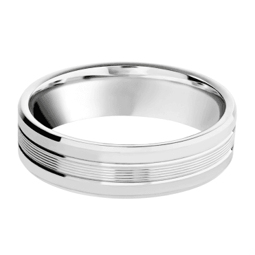 Palladium 950 6mm Polished Line Pattern Wedding Ring