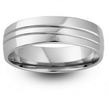 Palladium 950 6mm Polished Lined Wedding Ring