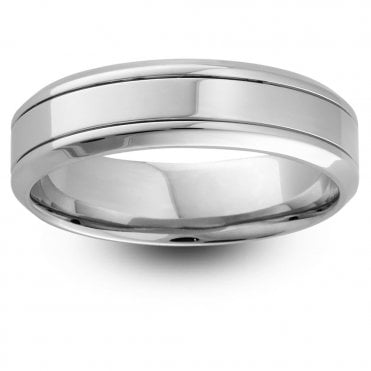 Palladium 950 Medium Weight 6mm Polished Wedding Ring