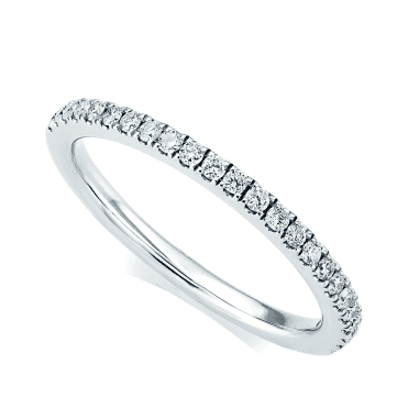 Platinum 1.5mm Round Brilliant Cut & Claw Set Diamond Half Eternity Ring