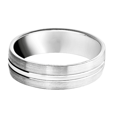 Platinum 6mm Brushed & Polished Wedding Ring