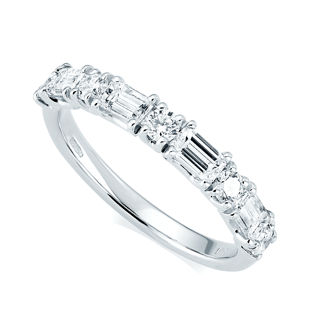 b5ef433392b77 Platinum Alternating Nine-Stone Diamond Set Half Eternity Ring