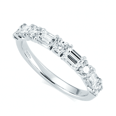 Platinum Alternating Nine-Stone Diamond Set Half Eternity Ring