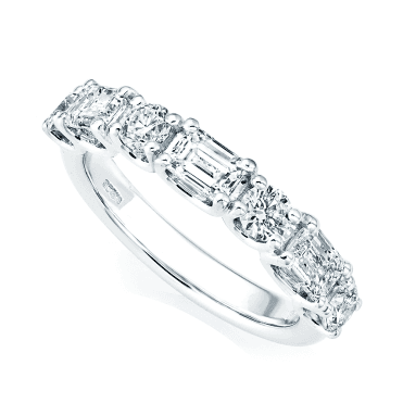 Platinum Alternating Seven-Stone Diamond Set Half Eternity Ring