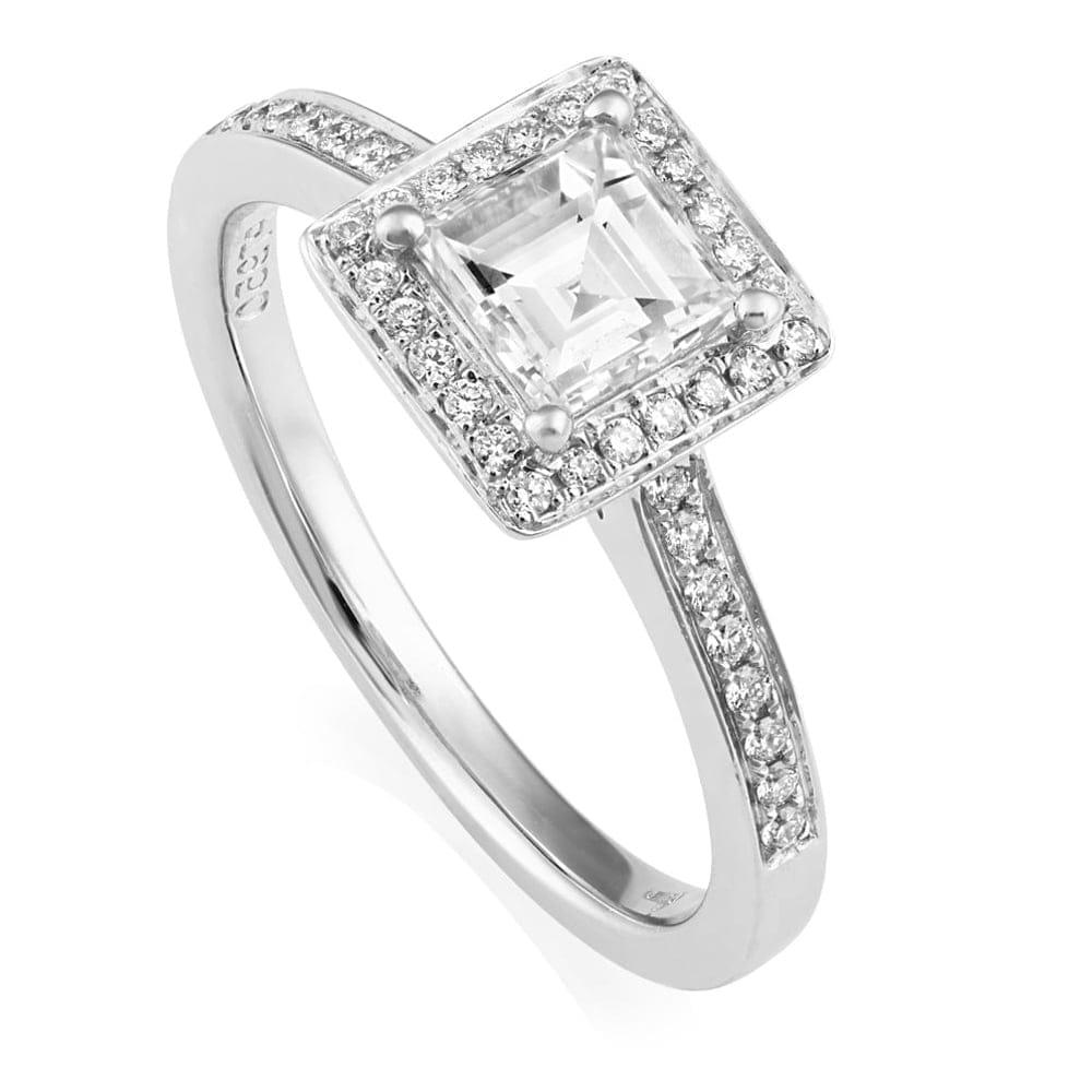 Platinum Engagement Rings Sale Uk: Platinum Asscher Cut Diamond Cluster Engagement Ring