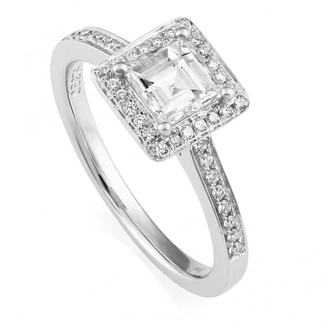 platinum asscher cut cluster engagement ring