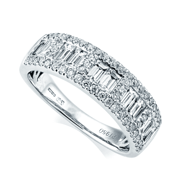 Platinum Baguette & Brilliant Cut Pave Set Diamond Eternity Ring