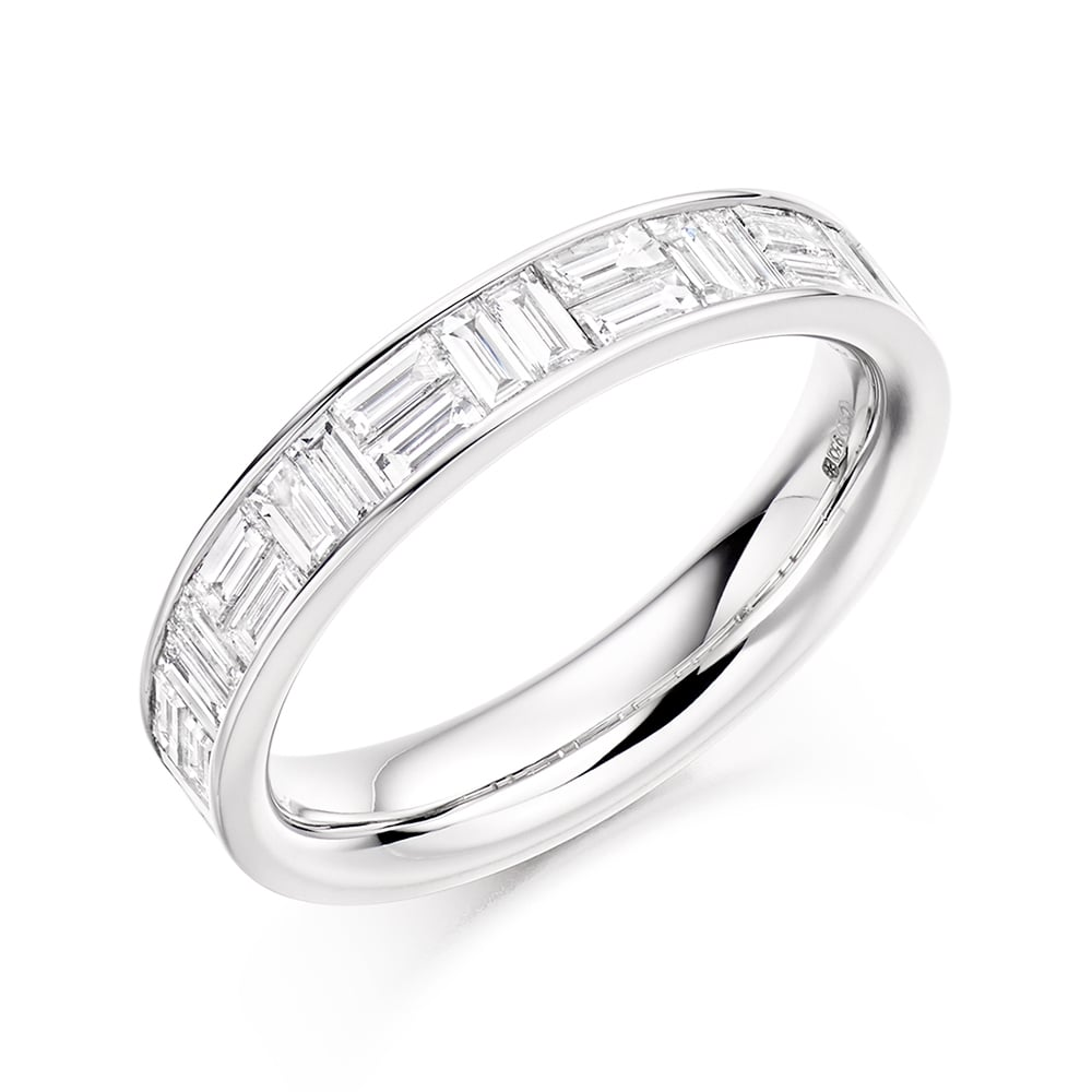 1306f64d7a2d3 Platinum Baguette Cut Channel Set Half Eternity Ring 1.10ct