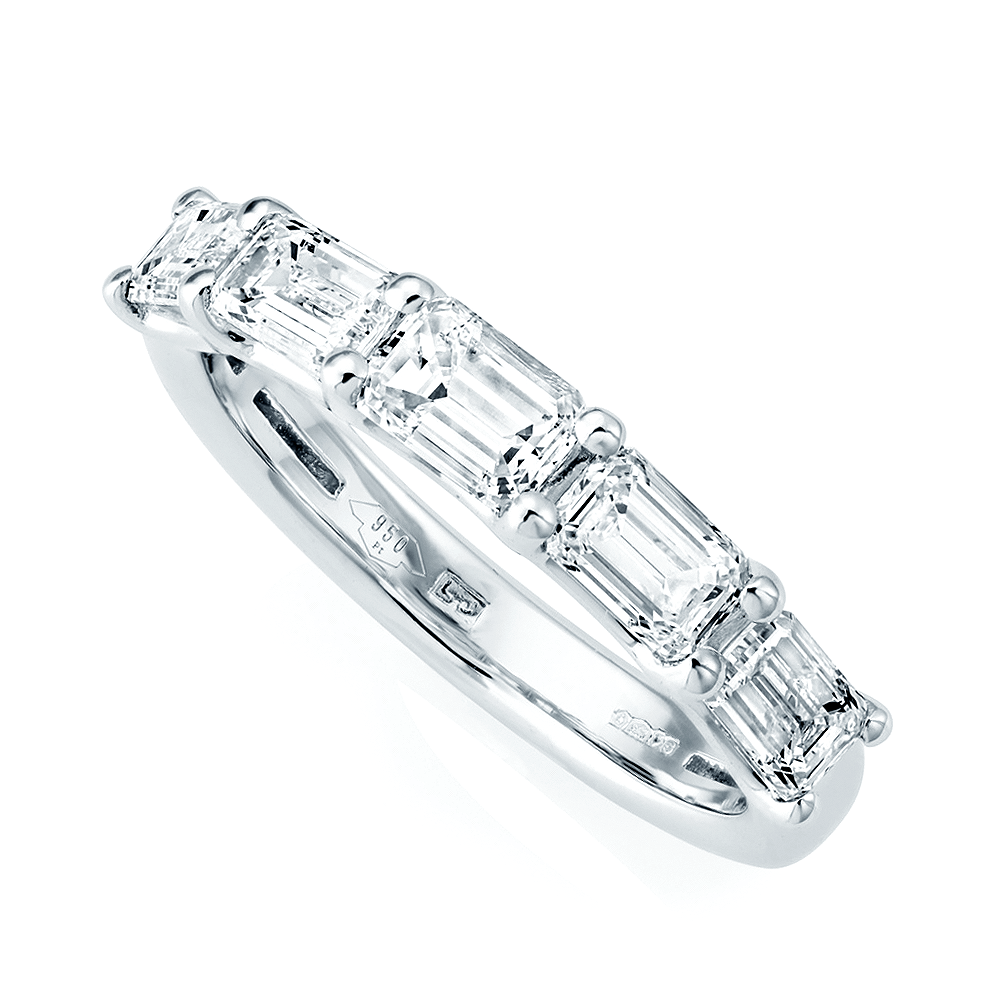 eternity full bands half raphael diamond baguette band collection wedding emerald image platinum the ring