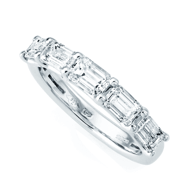 Platinum Baguette Cut Five-Stone Diamond Set Half Eternity Ring