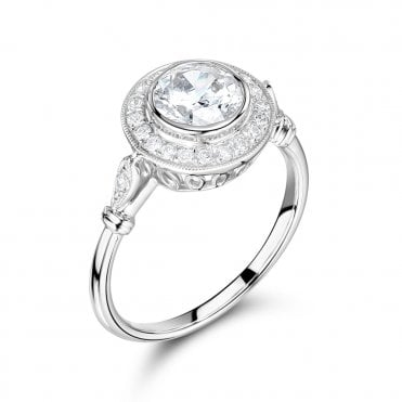 Berry's Platinum Brilliant Cut Diamond & Circular Pave Halo Surround Ring GIA Certified