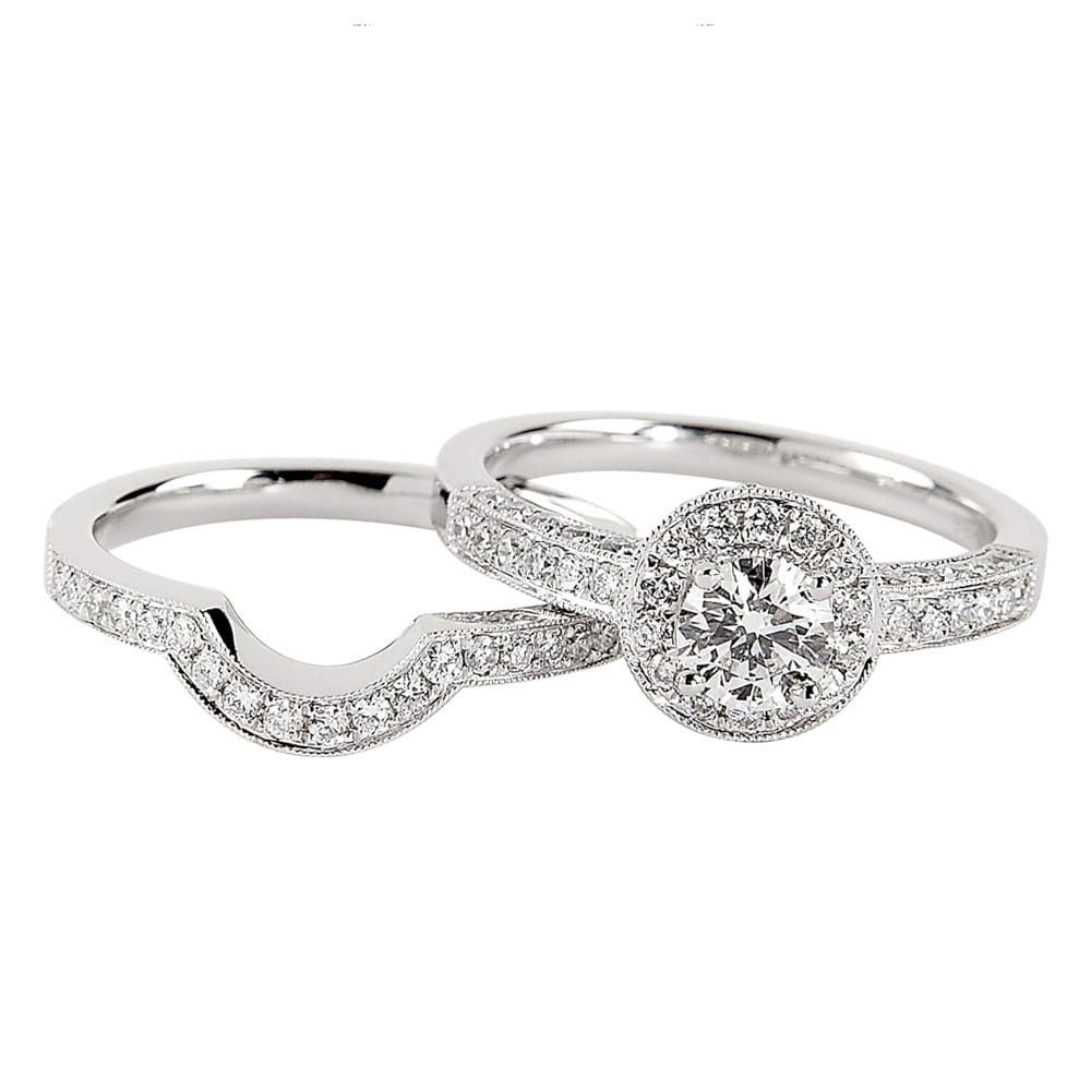Platinum Diamond Halo Set Engagement Ring Shaped Wedding Ring Set