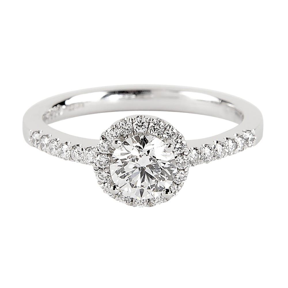 Platinum Engagement Rings Sale Uk: Platinum Certified Brilliant Cut Diamond Halo Engagement