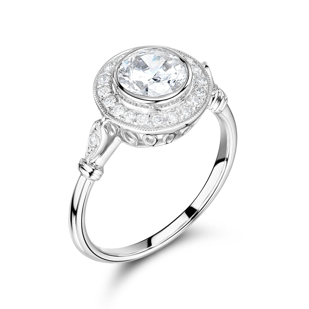 Platinum Brilliant Cut GIA Certified Diamond Halo Design Ring