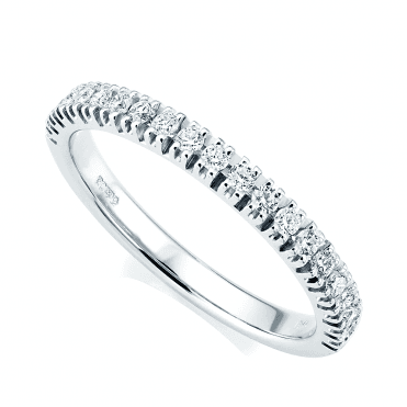 Platinum Brilliant Cut Micro Claw Set Diamond Half Eternity Ring
