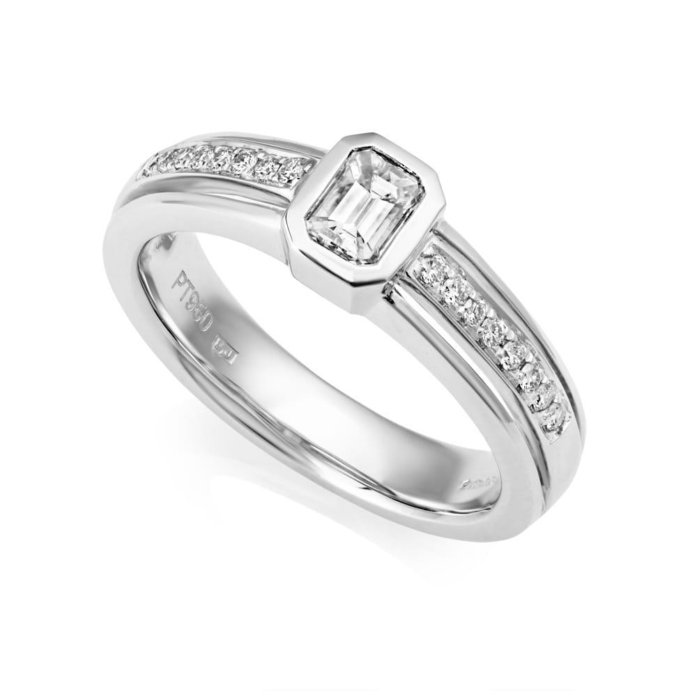 Berry S Platinum Channel Set Emerald Cut Diamond Engagement Ring