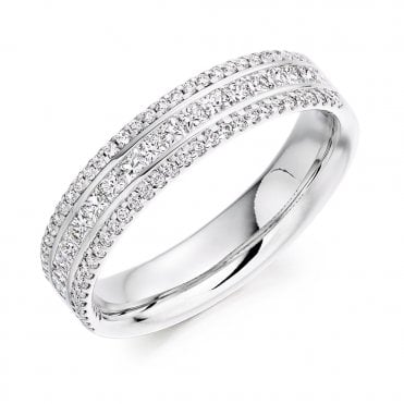 Platinum Channel Set Three Row Diamond Set Half Eternity Ring