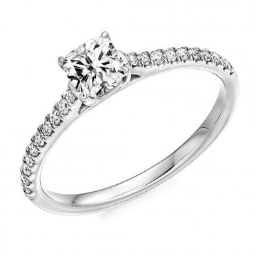 Berry's Platinum Claw Set Cushion Cut Diamond Engagement Ring