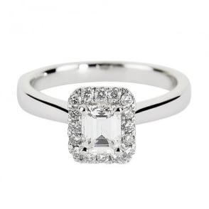Berry's Platinum Claw Set Emerald Cut Diamond & Pave Surround Engagement Ring