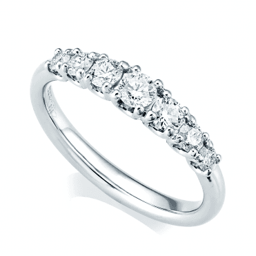 Platinum Claw Set Seven-Stone Graduated Diamond Set Eternity Ring