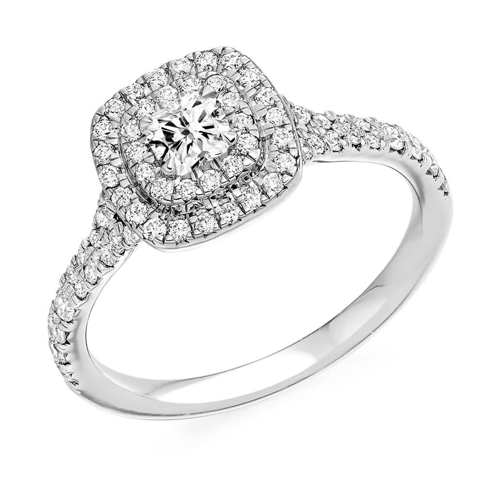 Platinum Engagement Rings Sale Uk: Berry's Cushion Cut & Diamond Set Surround & Shoulders