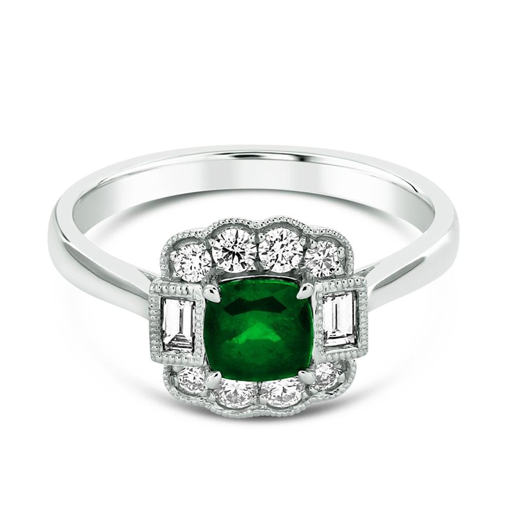 Berry S Platinum Cushion Cut Emerald Amp Diamond Set