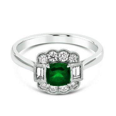 Platinum Cushion Cut Emerald & Diamond Set Surround Ring