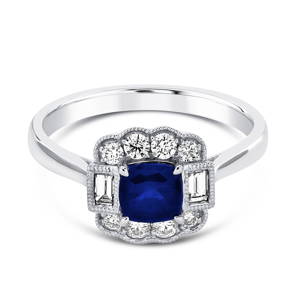 cut ring cushion in white carat blue gold engagement diamond and sapphire halo