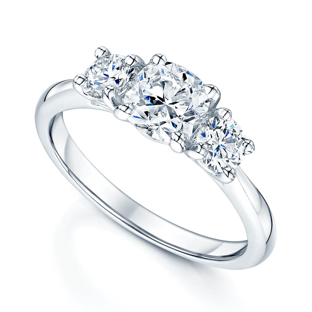 57b8a5d94e5a9 Platinum Cushion & Round Brilliant Cut Diamond Trilogy Ring