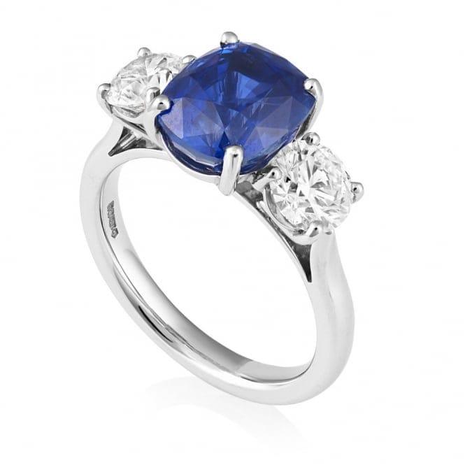 Gia Platinum Cushion Shape Sapphire Amp Diamond Three Stone Ring