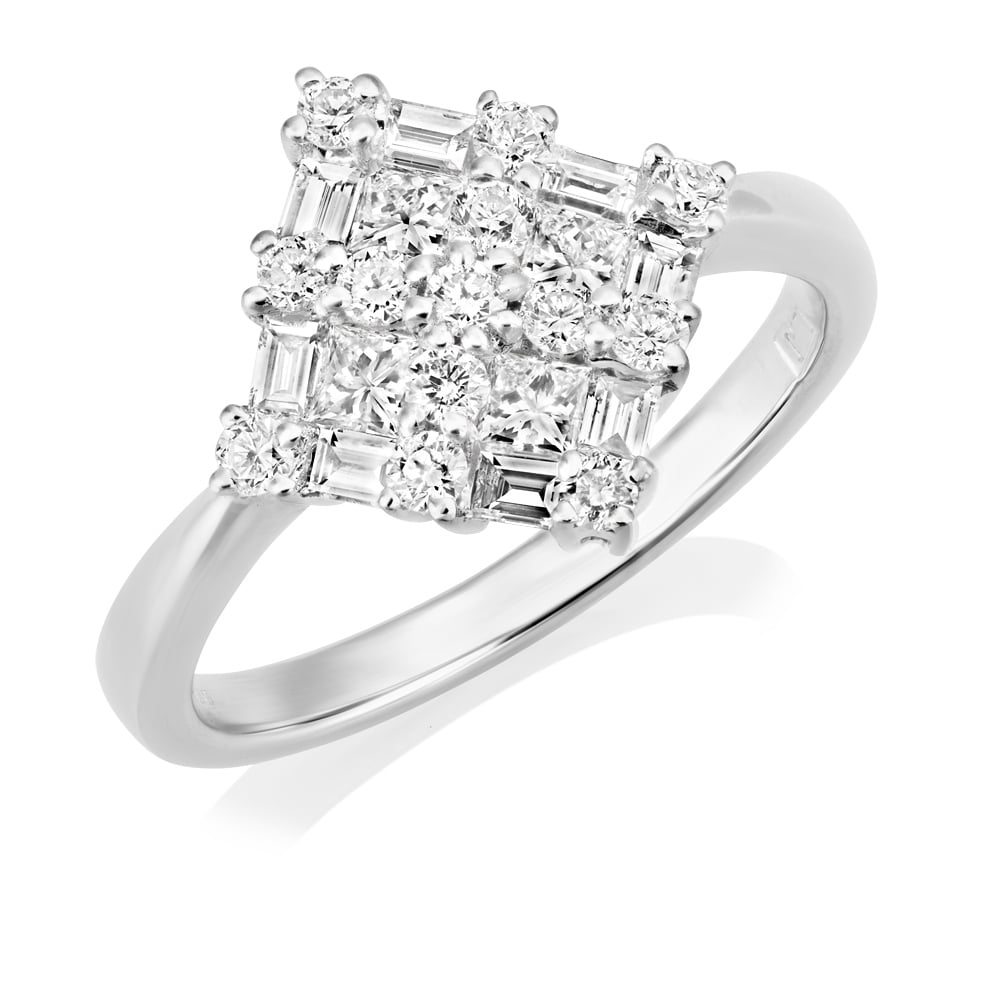 Berry's Platinum Diamond Cluster Ring With Princess Cut ...