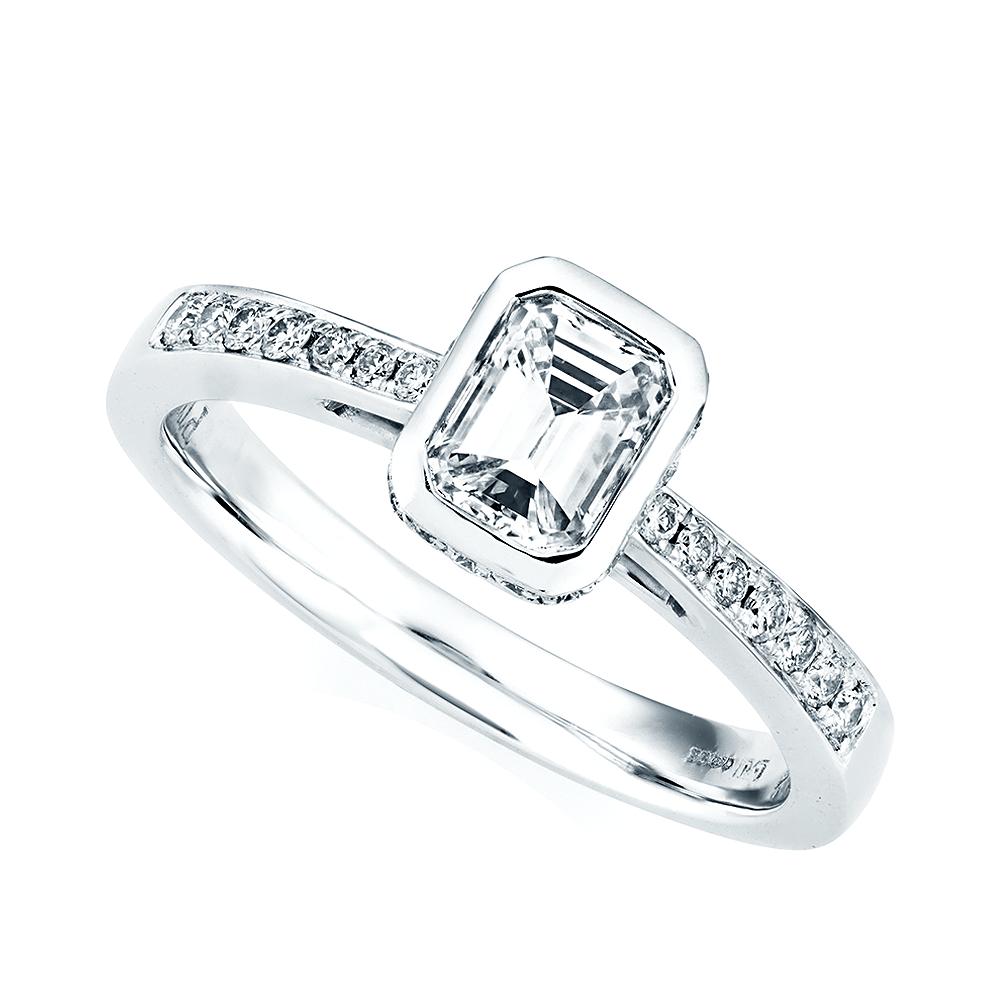 Platinum Diamond Emerald Cut Rub Over Design Engagement Ring
