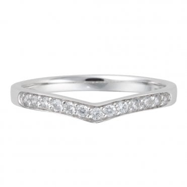 Platinum Diamond Wishbone Shaped Wedding Ring