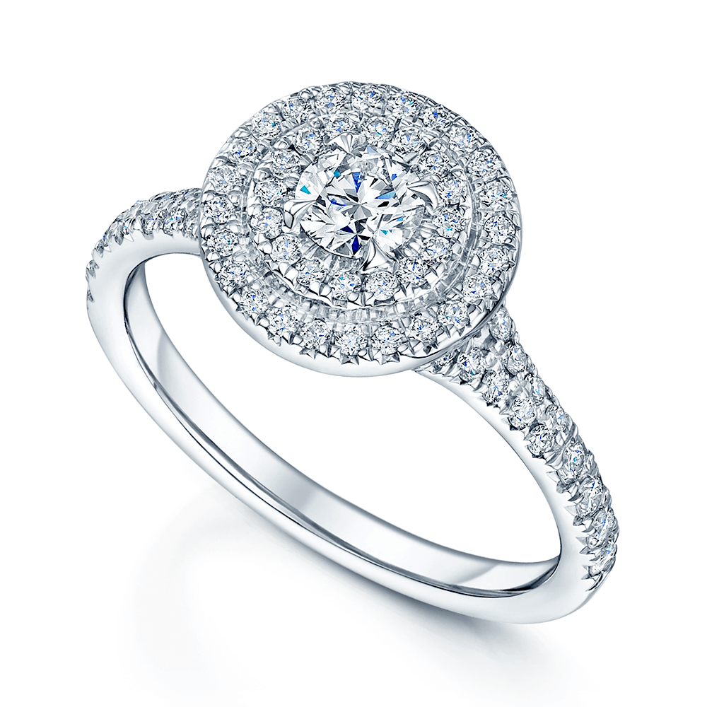 ring rings emerald platinum wedding image diamond halo from leonard double cut bridal