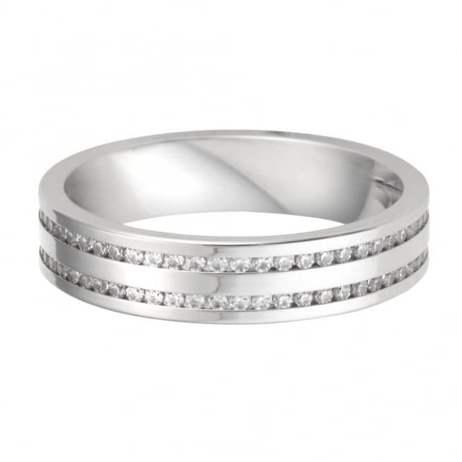 platinum row channel set wedding ring