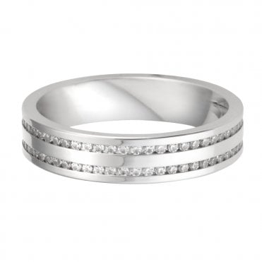Platinum Double Row Diamond Channel Set Wedding Ring