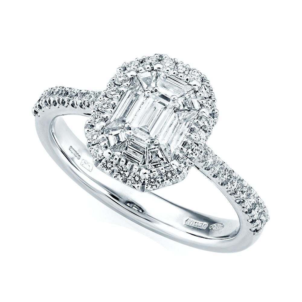 Berry's Platinum Emerald Cut & Double Diamond Surround