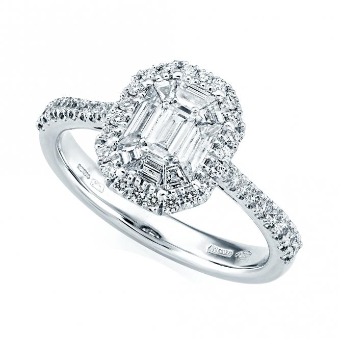 Platinum Engagement Rings Sale Uk: Berry's Platinum Emerald Cut & Double Diamond Surround
