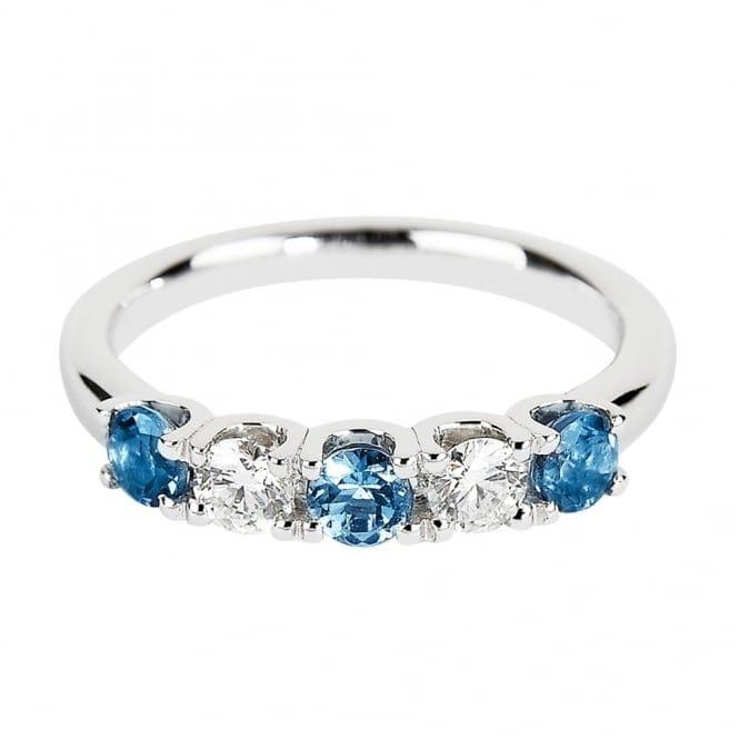 Berry S Platinum Five Stone Aquamarine Amp Diamond Half