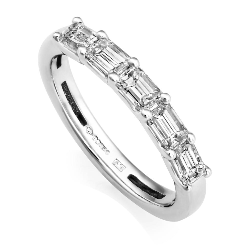 78cf68b773d6c Platinum Five Stone Emerald Cut Diamond Eternity Ring