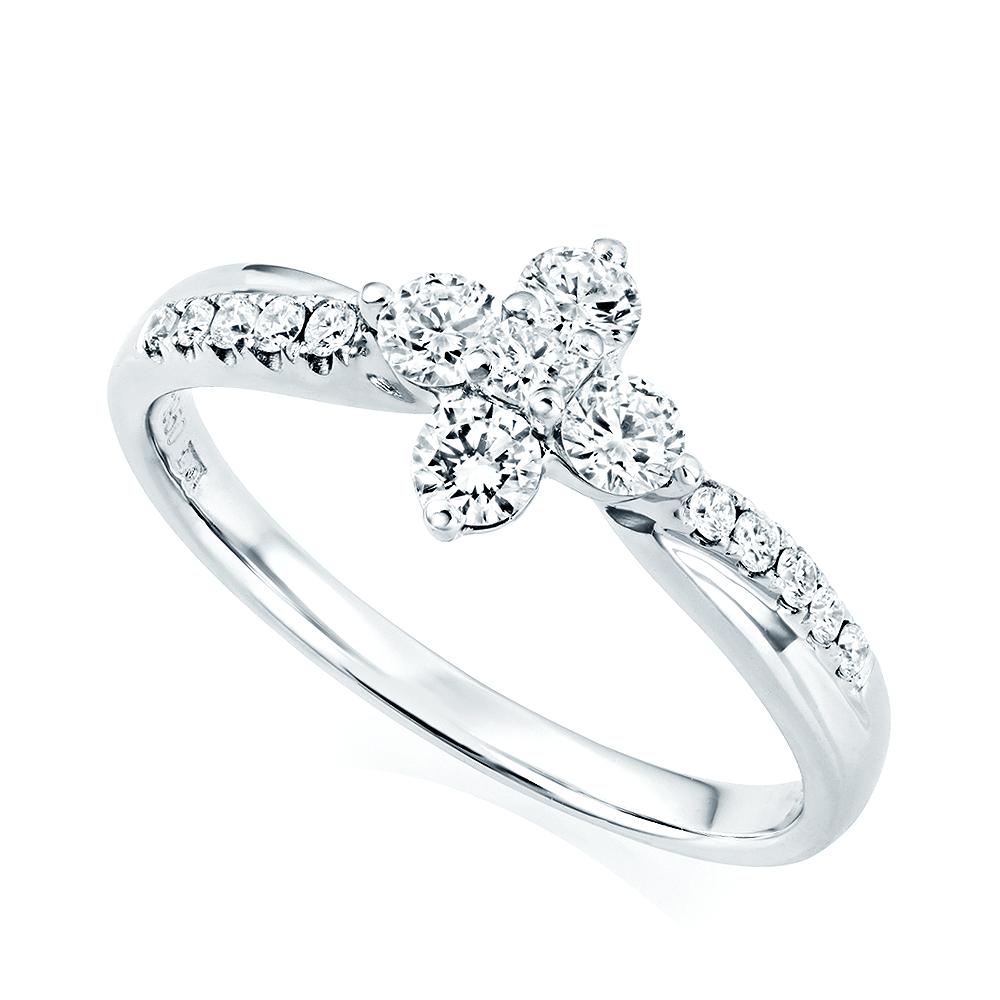 Platinum Engagement Rings Sale Uk: Platinum Flower & Pave Set Twisted Shoulders Diamond