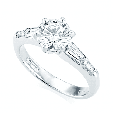 Platinum GIA Certified Diamond & Tapered Baguette Cut Shoulders Engagement Ring