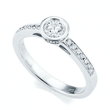 Platinum GIA Certified Rub Over Design Diamond Engagement Ring